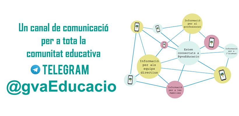 Educació crea @gvaEducacio, un nou canal de comunicació via Telegram per a tota la comunitat educativa