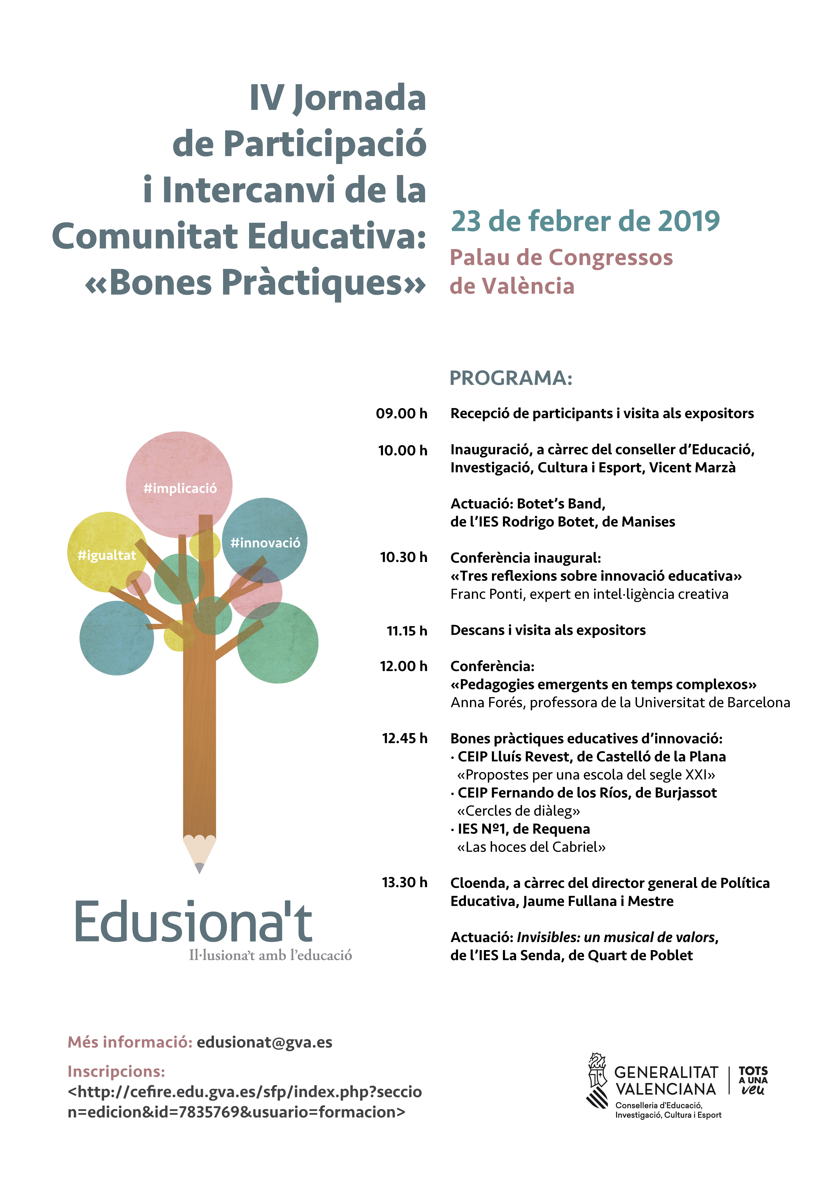 """Educació organitza la jornada """"Edusiona""""t"""" centrada en la innovació educativa"""