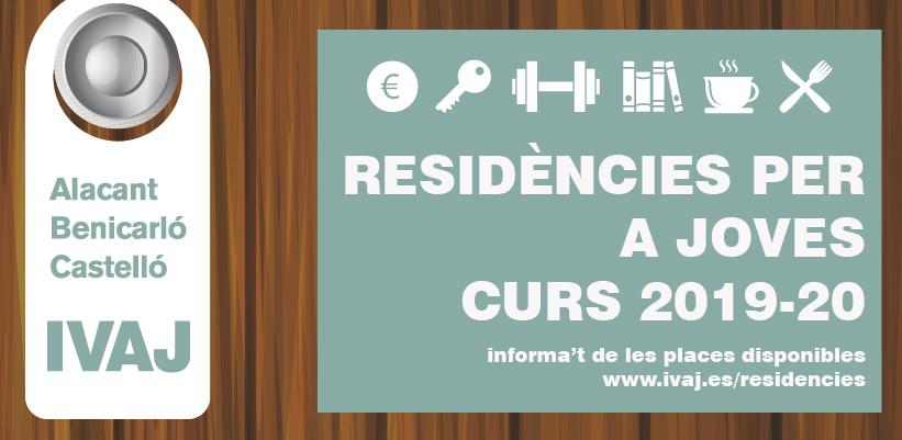 El IVAJ convoca 81 plazas en residencias de estudiantes de Alicante, Benicarló y Castellón para el curso 2019-2020