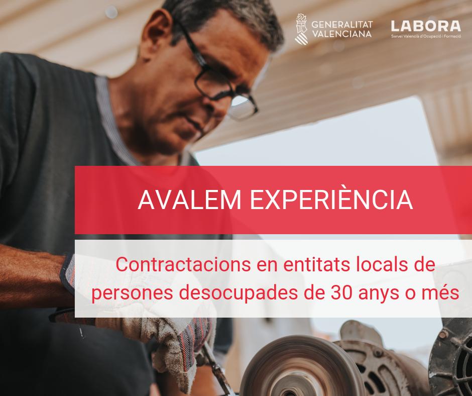 Un total de 500 corporacions locals de la Comunitat Valenciana contractaran a persones desocupades a partir de 30 anys gràcies a Avalem Experiència