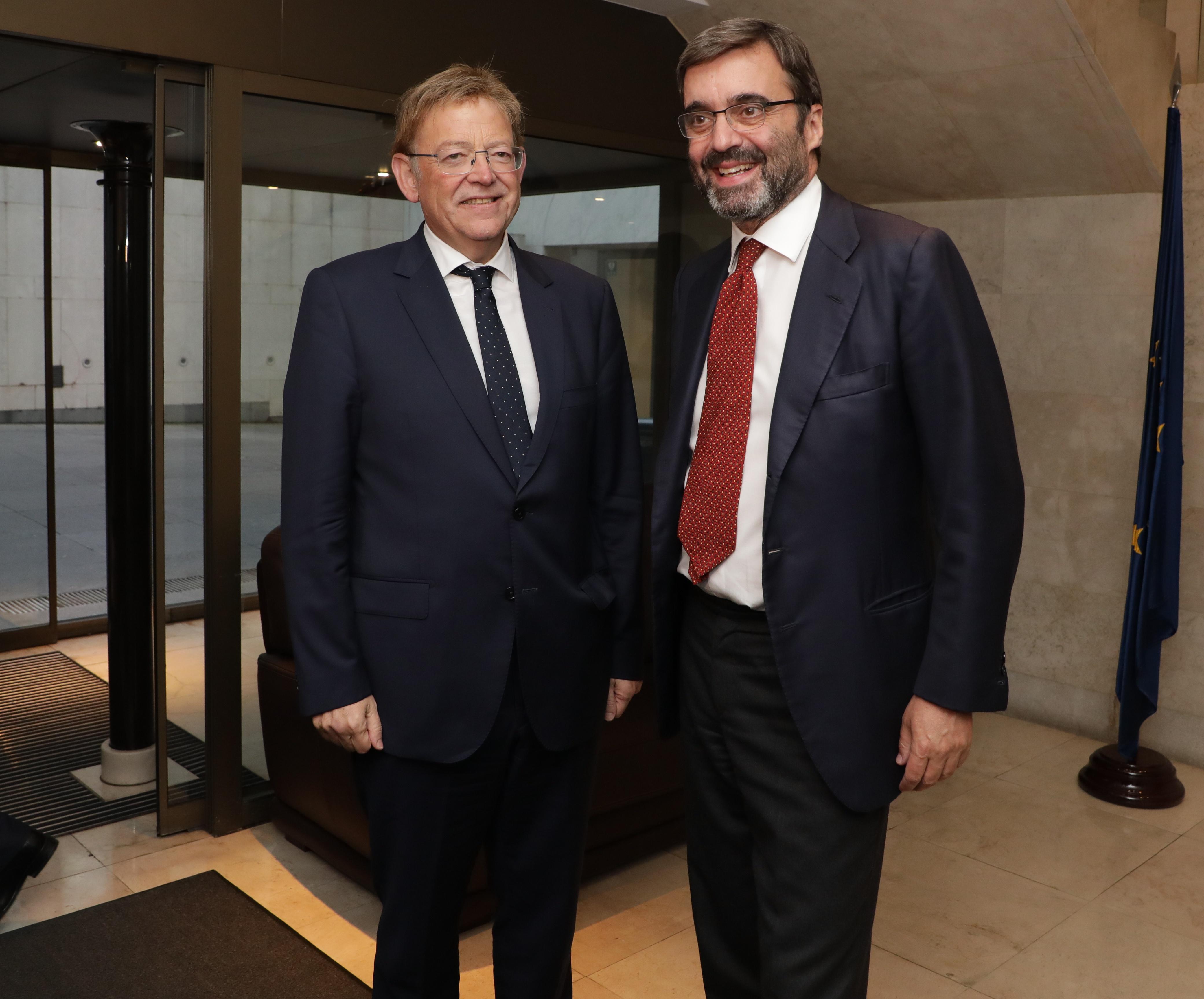 """Ximo Puig es reuneix amb l""""ambaixador permanent d""""Espanya davant la Unió Europea, Pablo García- Berdoy"""