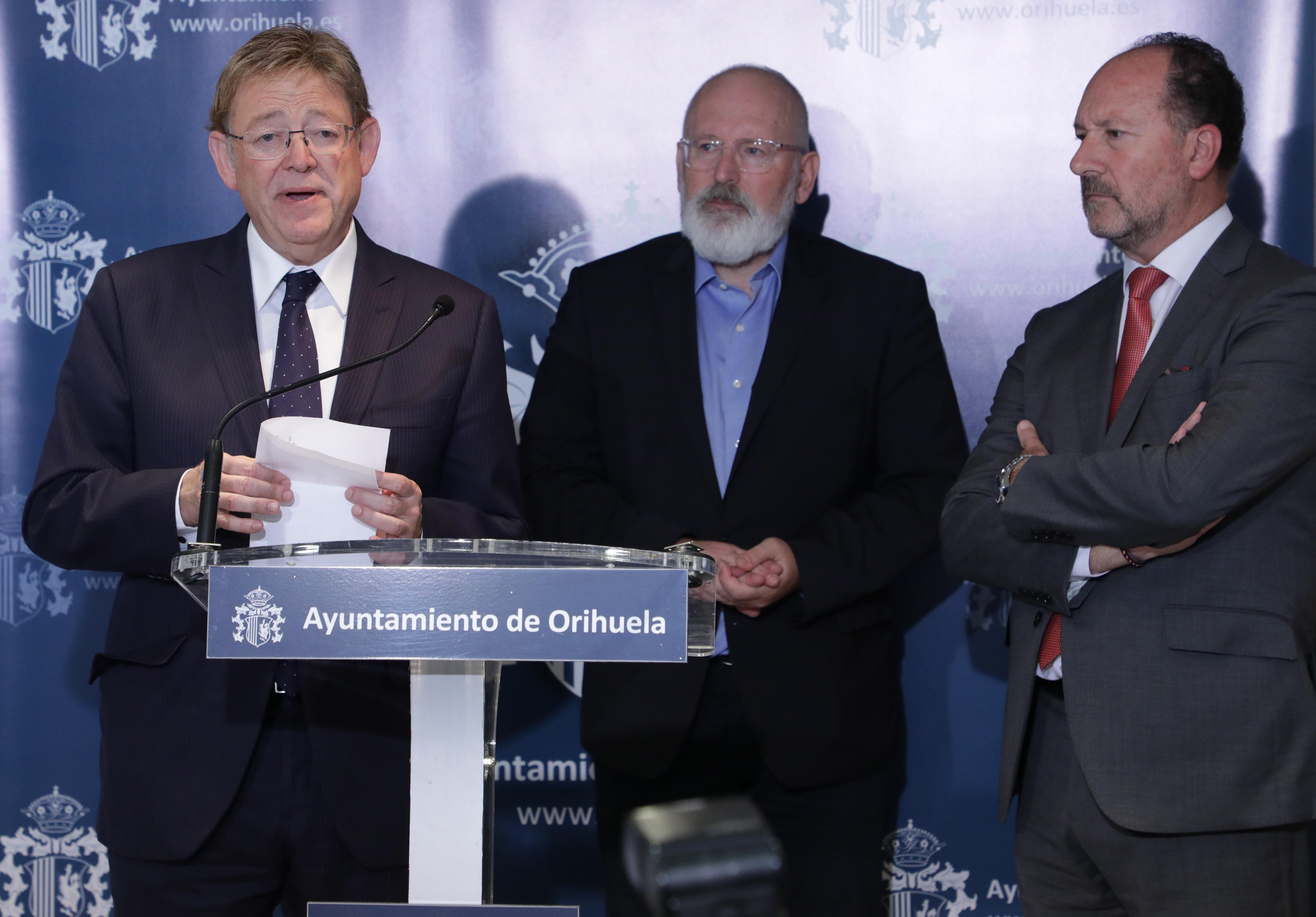 Ximo Puig trasllada a Timmermans i als alcaldes i alcaldesses del Baix Segura que el Consell ja ha demanat al Govern el Fons de Solidaritat de la UE