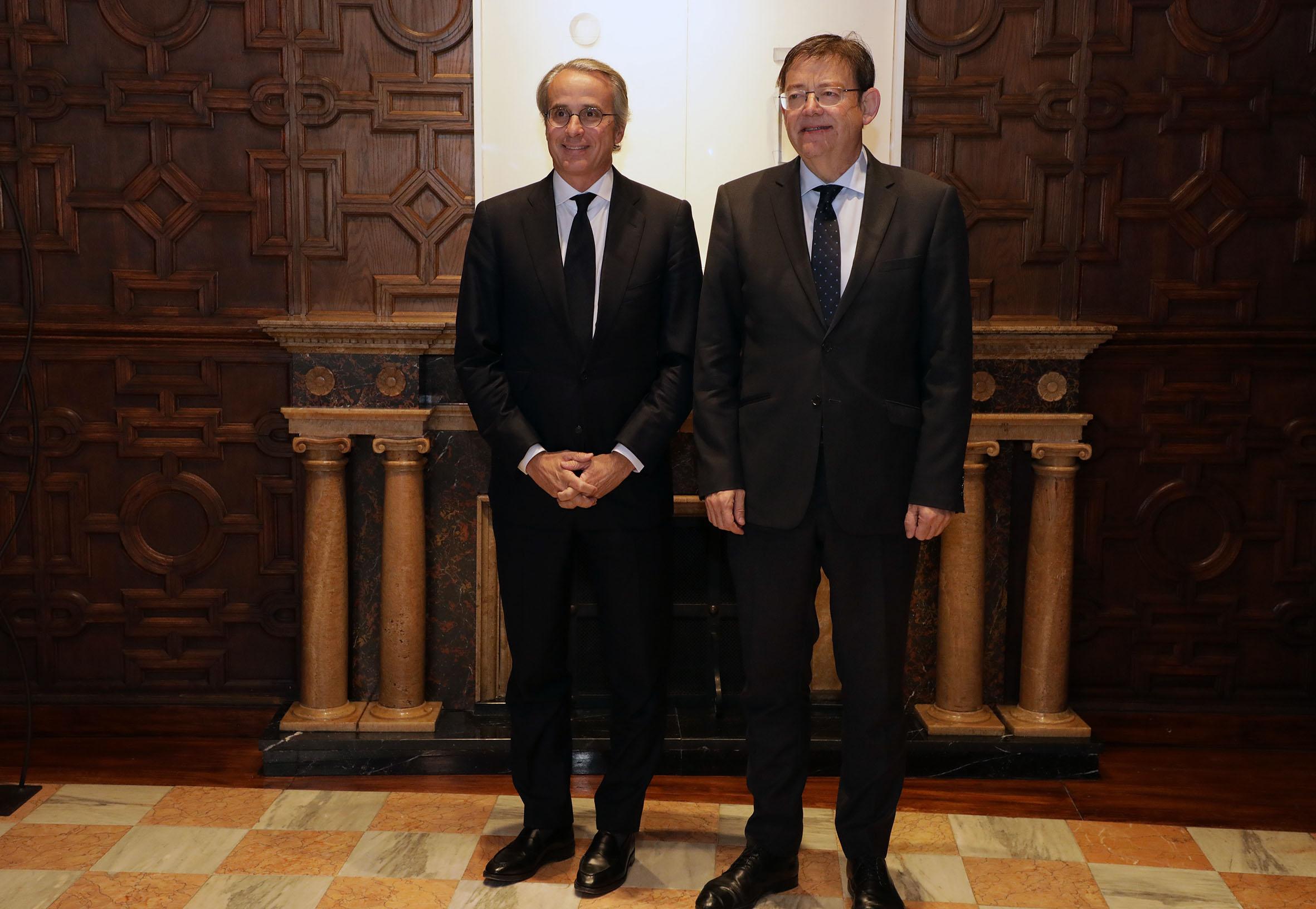 """Ximo Puig es reuneix amb el president del Cercle d""""Economia, Javier Faus"""