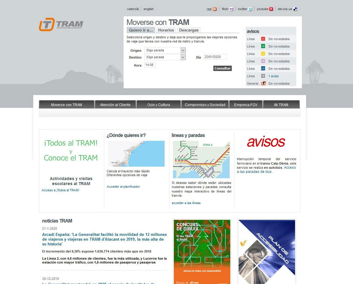 """La web del TRAM d""""Alacant ha recibido en 2019 más de 1.135.214 visitas de internautas"""