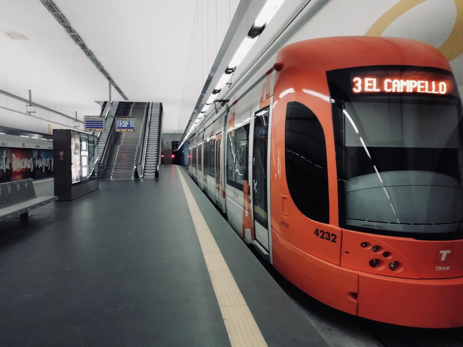 """El descenso de viajeros alcanza el 97,68% en Metrovalencia y el 96,22% en Tram d""""Alacant por la crisis sanitaria"""