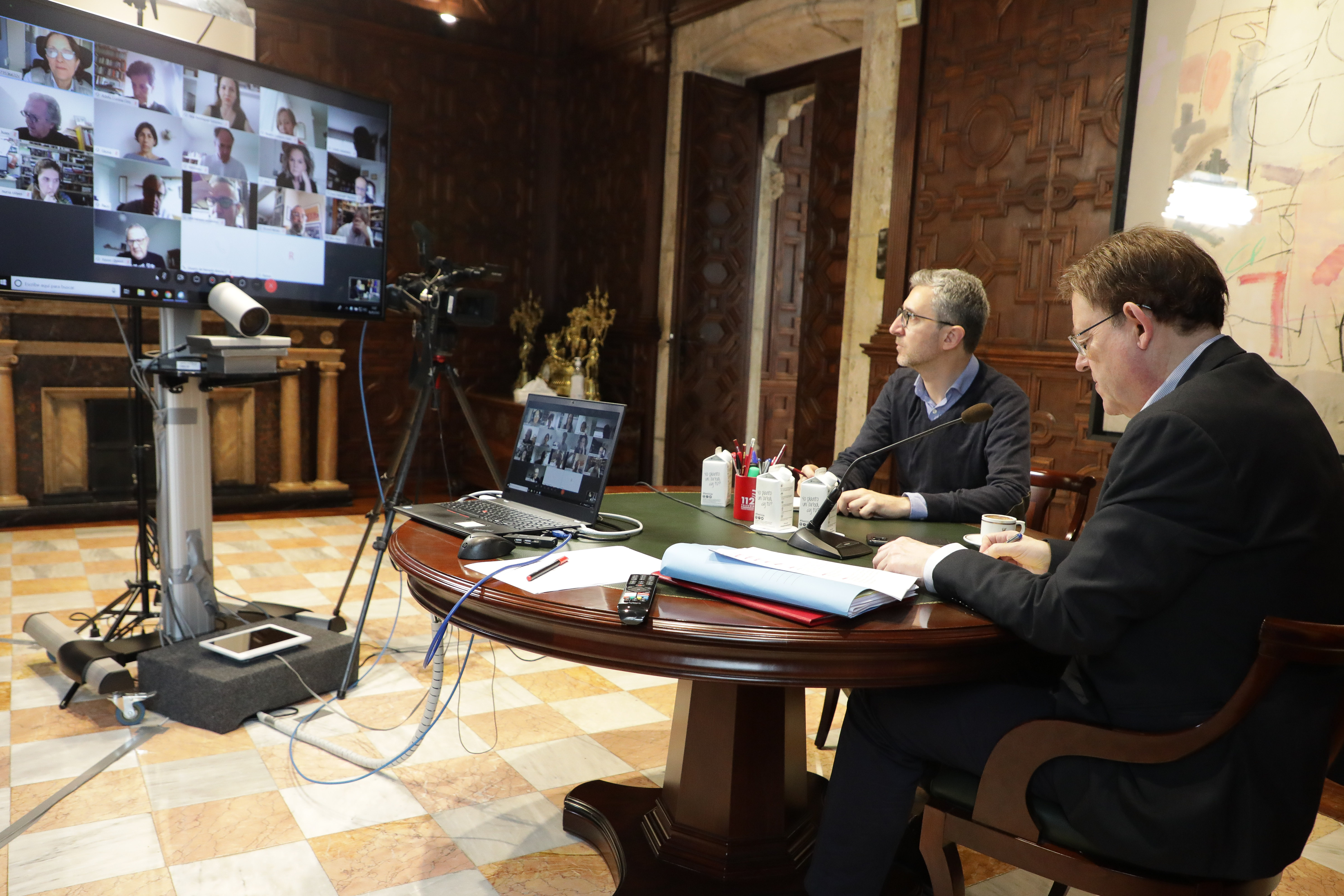 Ximo Puig manté una reunió amb persones expertes per a abordar el pas de la Comunitat Valenciana a la fase 1 del procés de desescalada