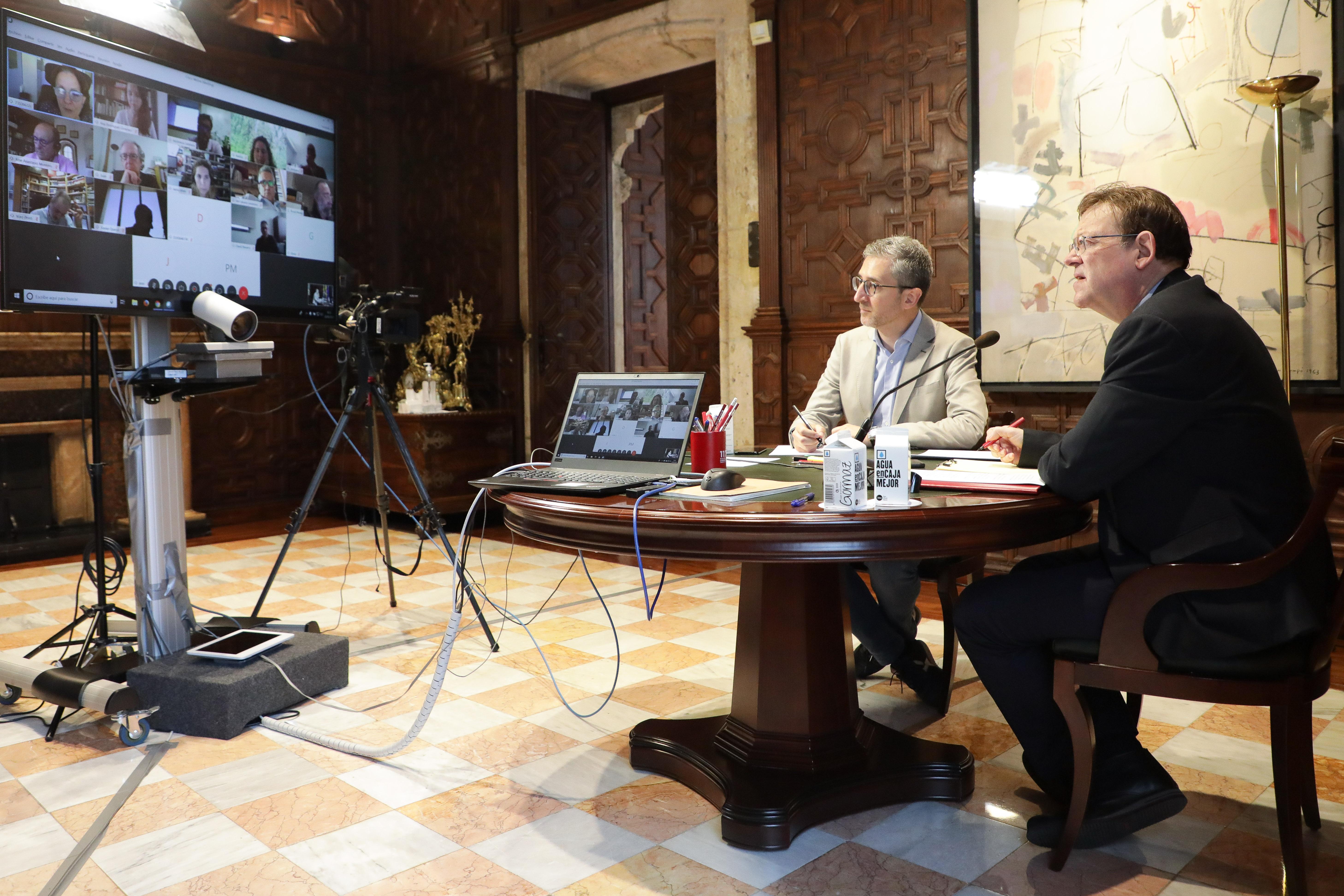 Ximo Puig mantiene una nueva reunión con personas expertas para continuar avanzando en el análisis de actuaciones ante la pandemia de coronavirus