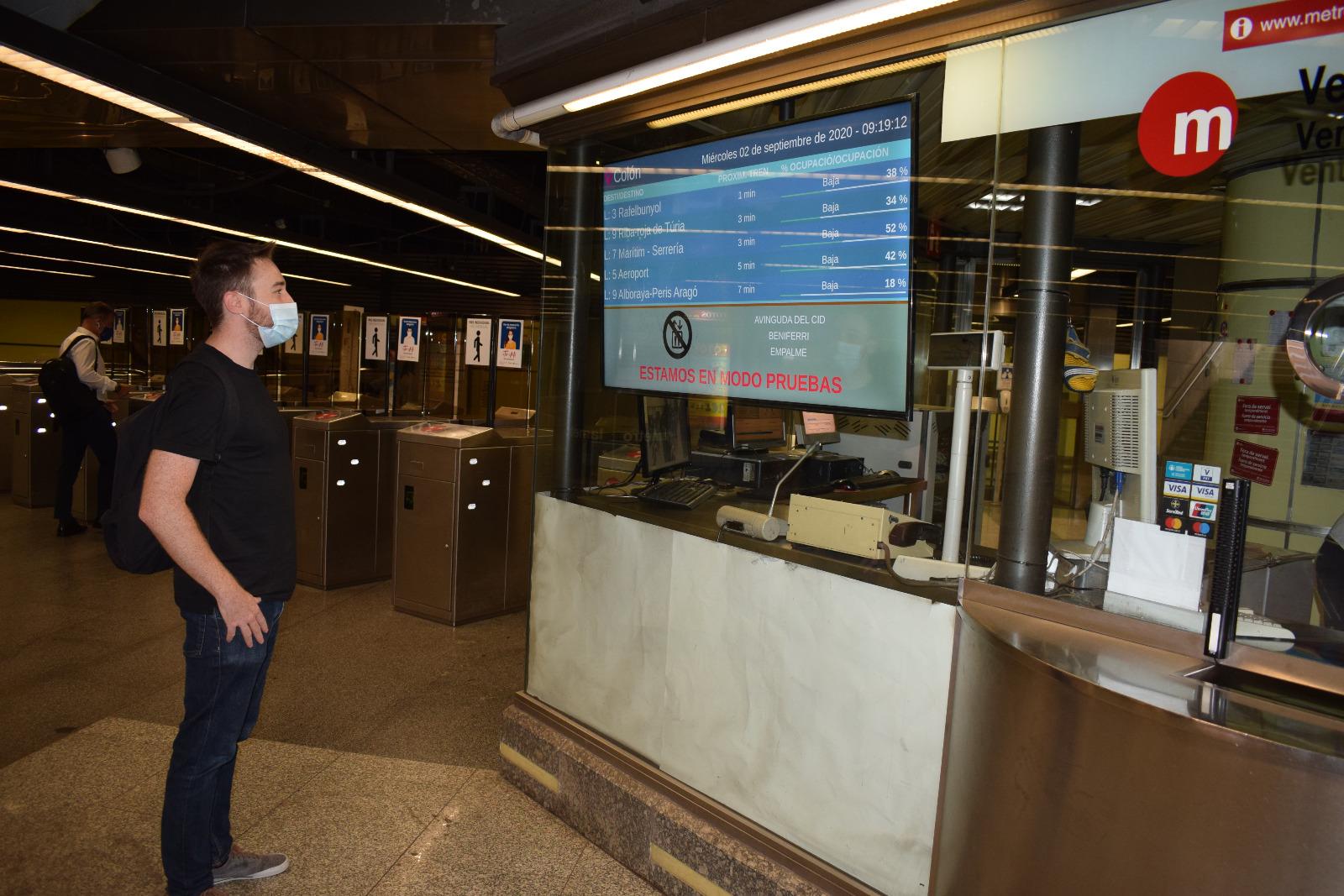"""Metrovalencia oferirà en les principals estacions informació en temps real sobre l""""aforament dels trens en circulació"""
