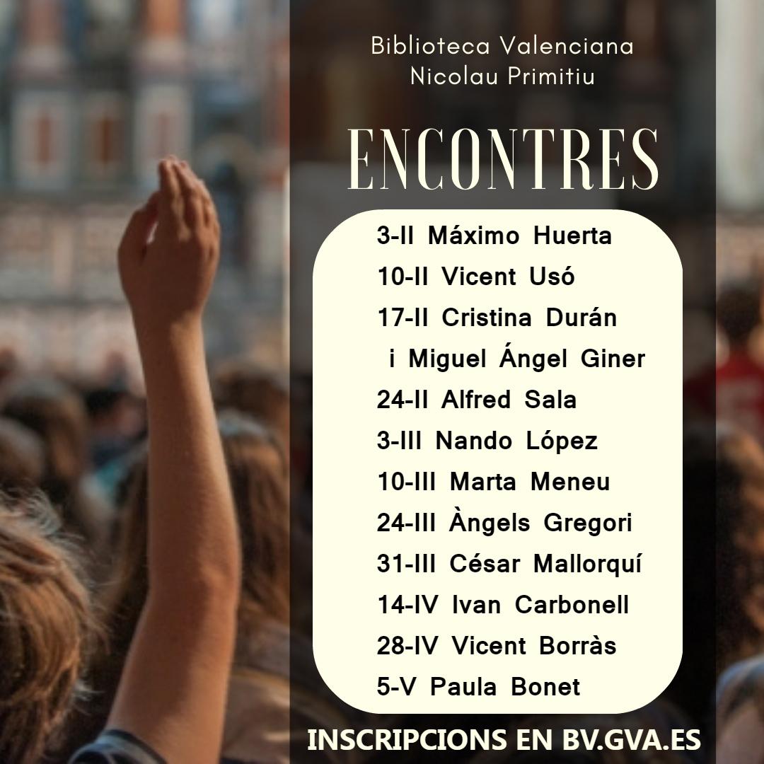 """La Biblioteca Valenciana obri els """"Encontres d""""escriptors"""" amb Máximo Huerta i els tanca amb Paula Bonet"""