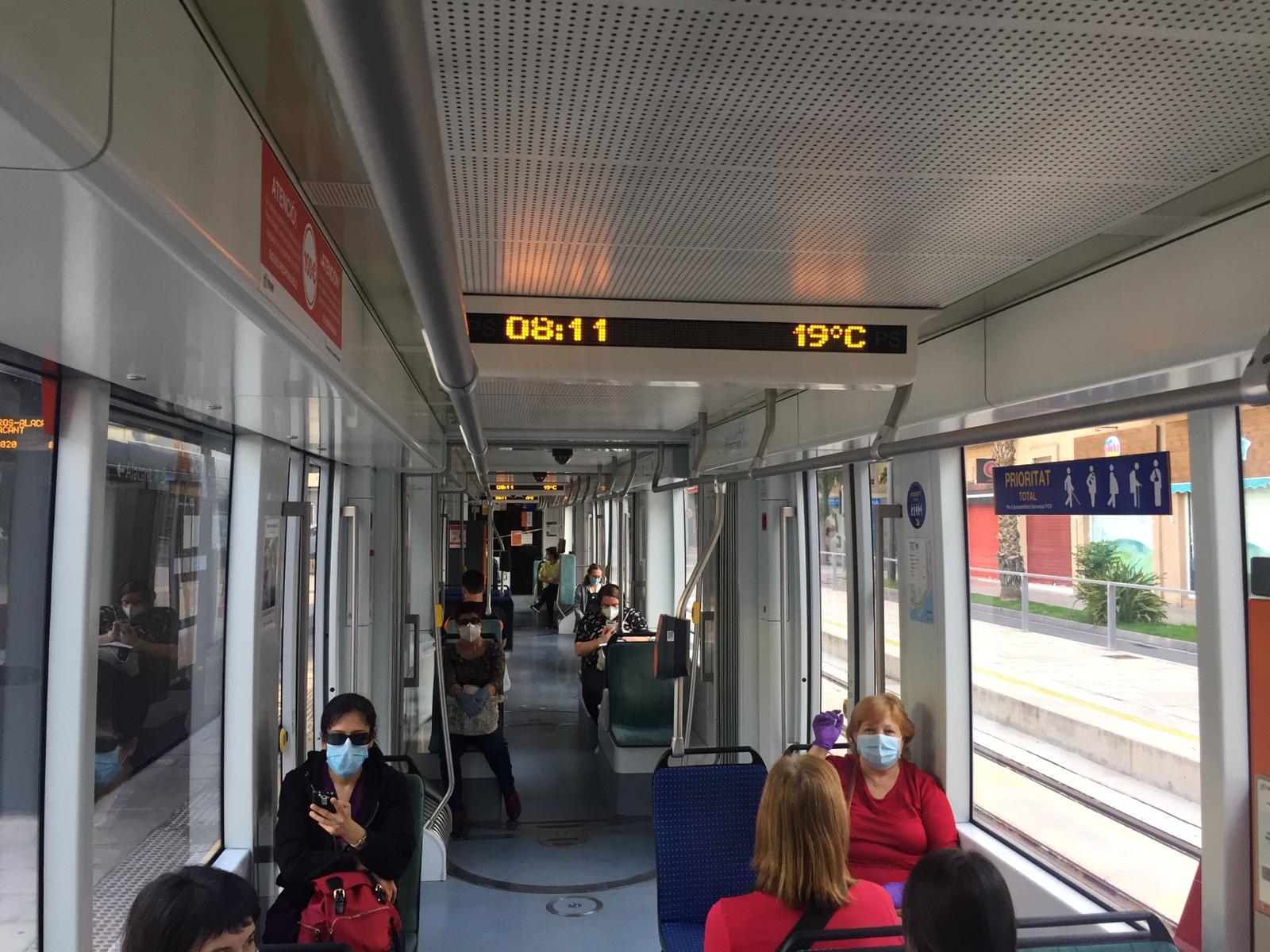 """Las personas usuarias del TRAM d""""Alacant valoran con 8,71 puntos el servicio del metropolitano, la mejor estimación de la historia"""
