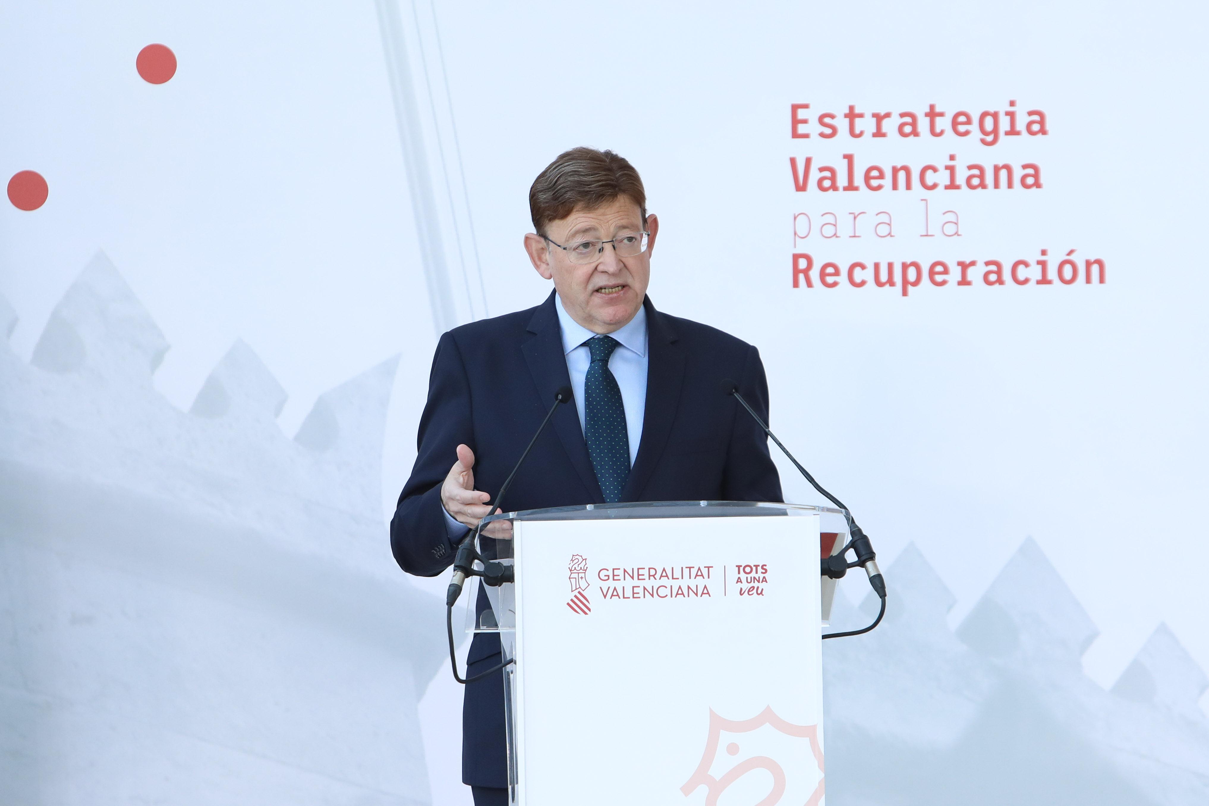 """Ximo Puig presenta la proposta de l""""Estratègia valenciana per a la recuperació amb 14 projectes tractors, valorats en 12.000 milions, per a impuls..."""
