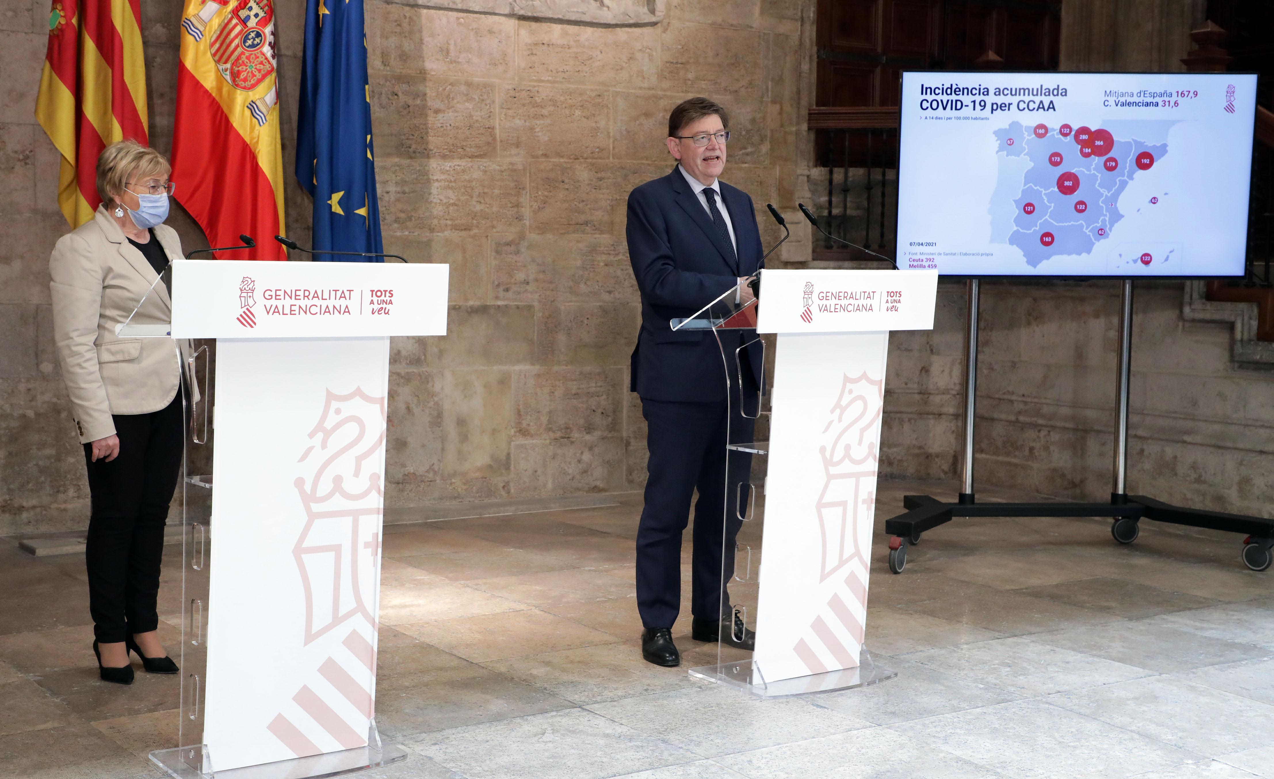 Ximo Puig anuncia que es podran fer reunions de dos nuclis de convivència a les cases i de fins a sis persones en espais públics