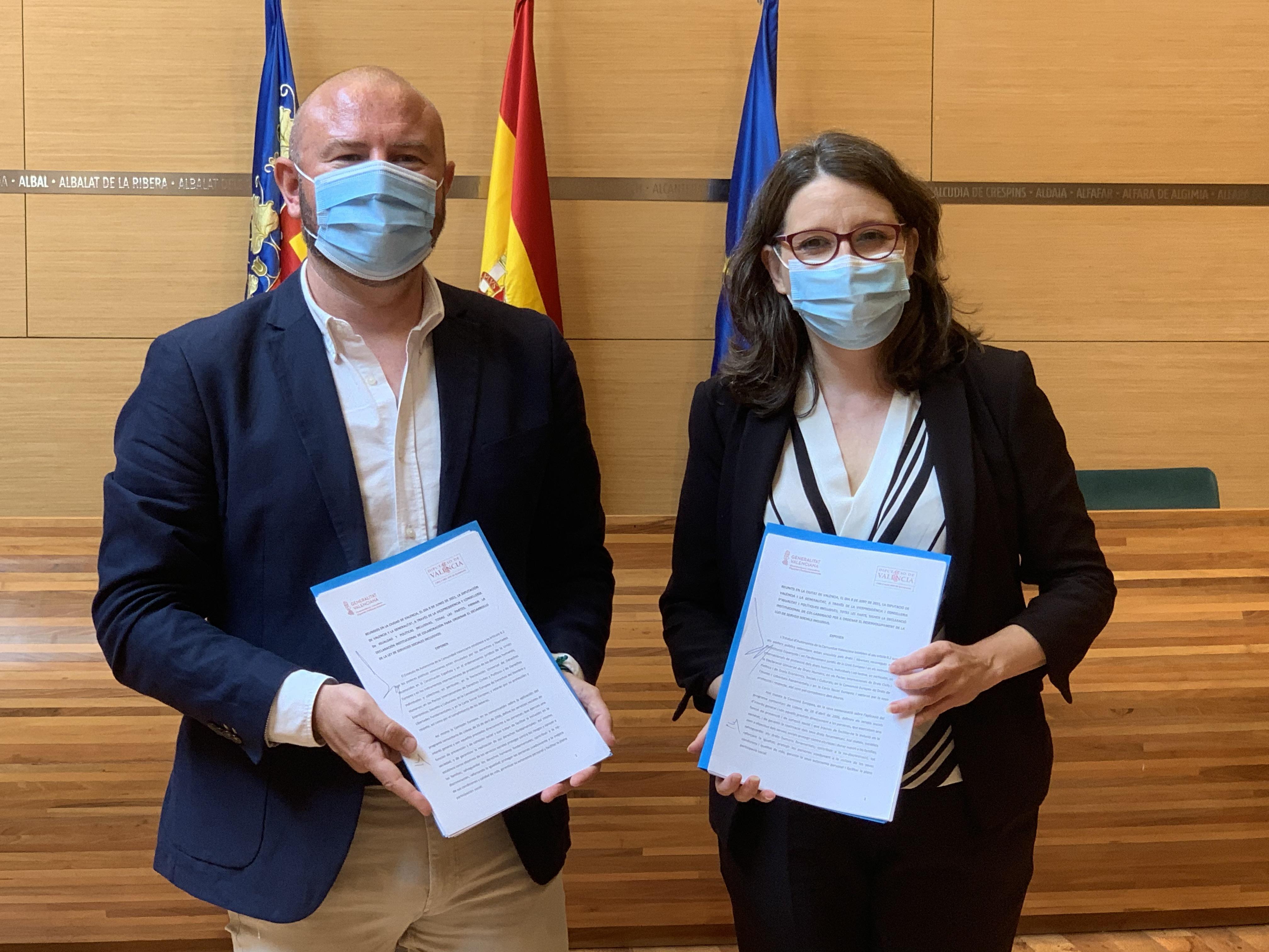 """Oltra: """"El conveni d""""Igualtat amb la Diputació de València serveix per a construir el Sistema de Serveis Socials públic en aquesta província"""""""