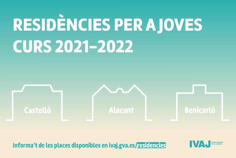 EL IVAJ convoca plazas en residencias de estudiantes de Alicante, Benicarló y Castelló para el curso 2021-2022