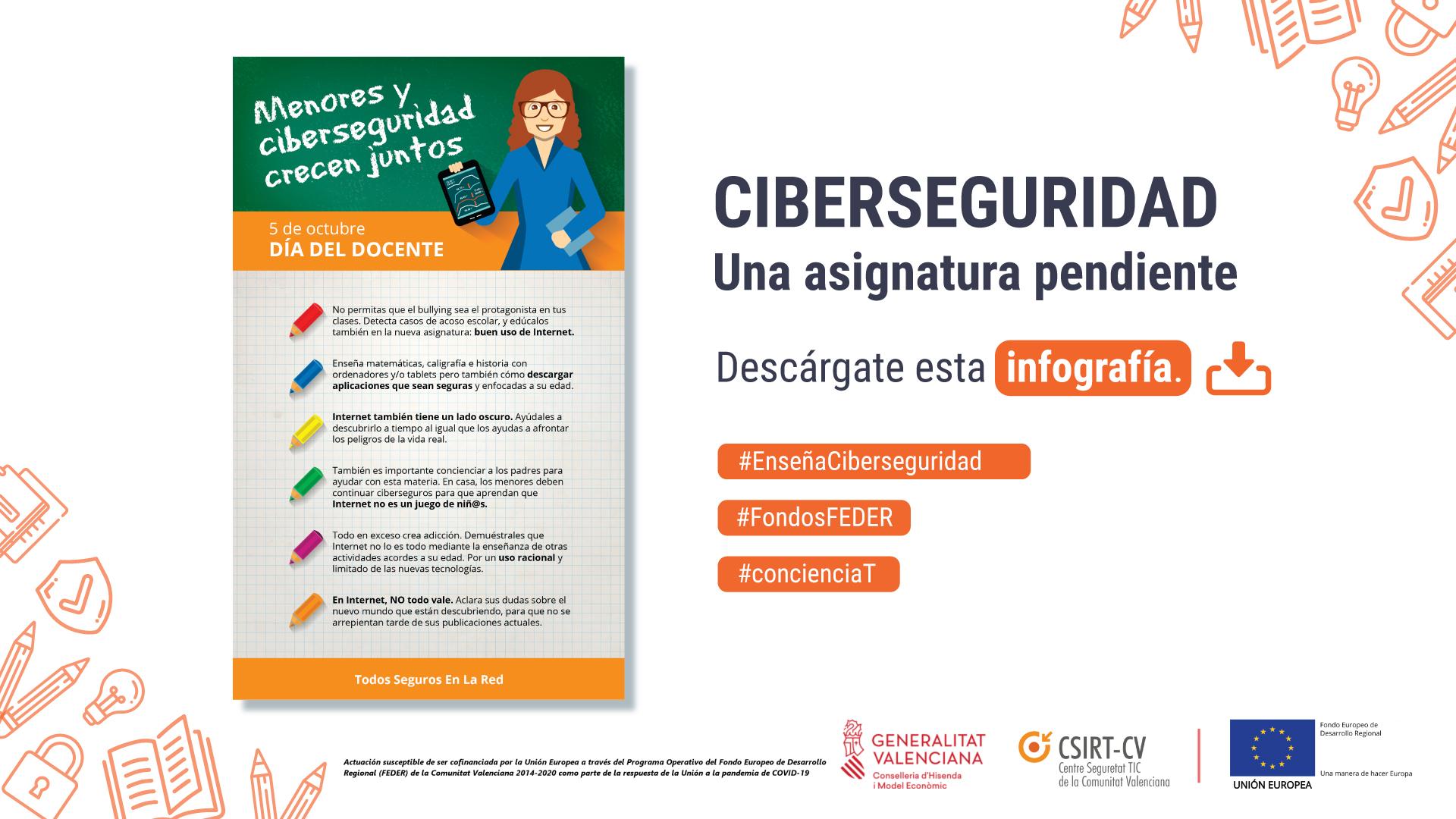 CSIRT-CV lanza una campaña para proporcionar recursos al personal docente en materia de ciberseguridad